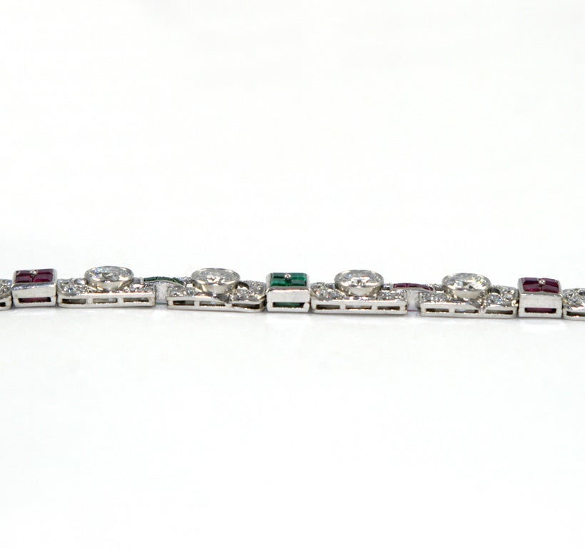 1920's Art Deco Diamond Ruby & Emerald Bracelet For Sale 3