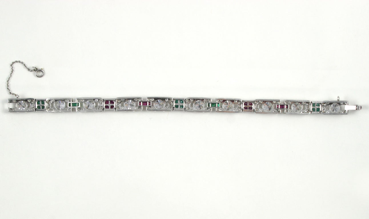 1920's Art Deco Diamond Ruby & Emerald Bracelet For Sale 4