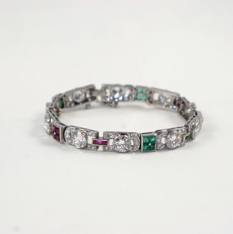 1920's Art Deco Diamond Ruby & Emerald Bracelet For Sale 7