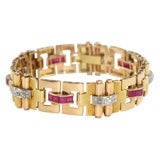 Two Color 18kt Gold Diamond & Ruby Retro Bracelet