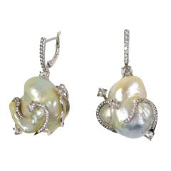 Baroque Pearl and Diamond Mermaid Earrings