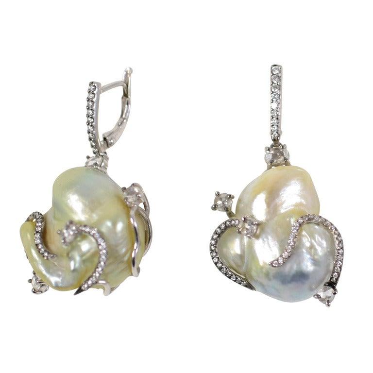 Baroque Pearl And Diamond Mermaid Earrings At 1stdibs