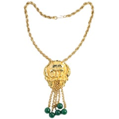 "Mythology God of Wind ""Gold"" & ""Jade"" Pendant Necklace, Costume Jewelry"