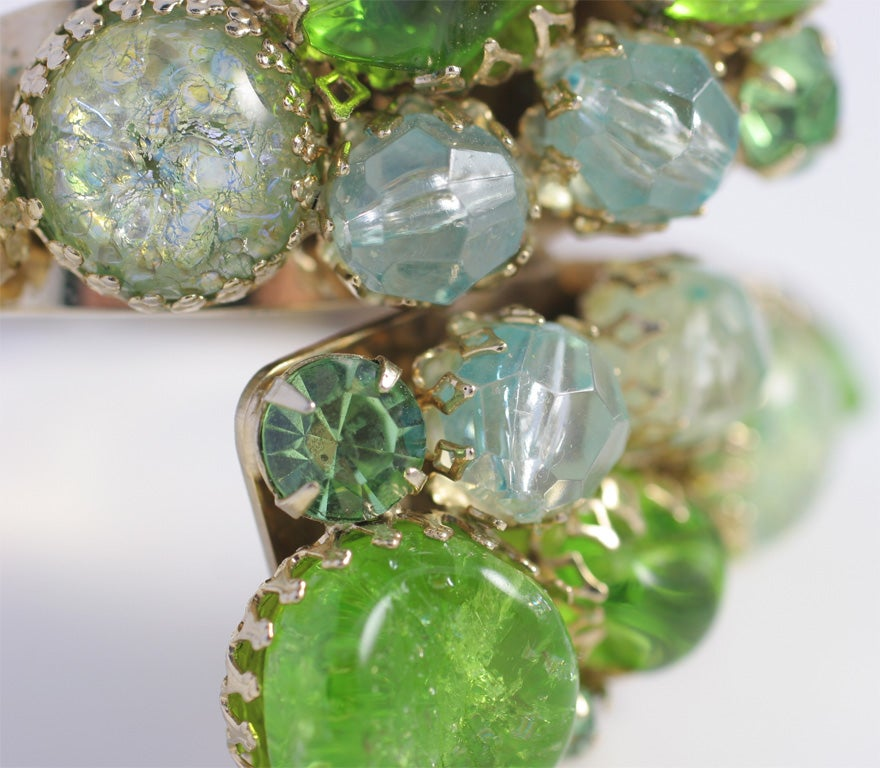 Green Stone Hinged Bracelet For Sale At 1stdibs