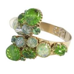 Green Stone Hinged Bracelet