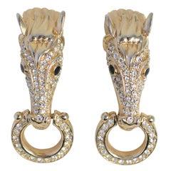 "Pair of ""Gold"" & Rhinestone Horse Head Earrings, Costume Jewelry"