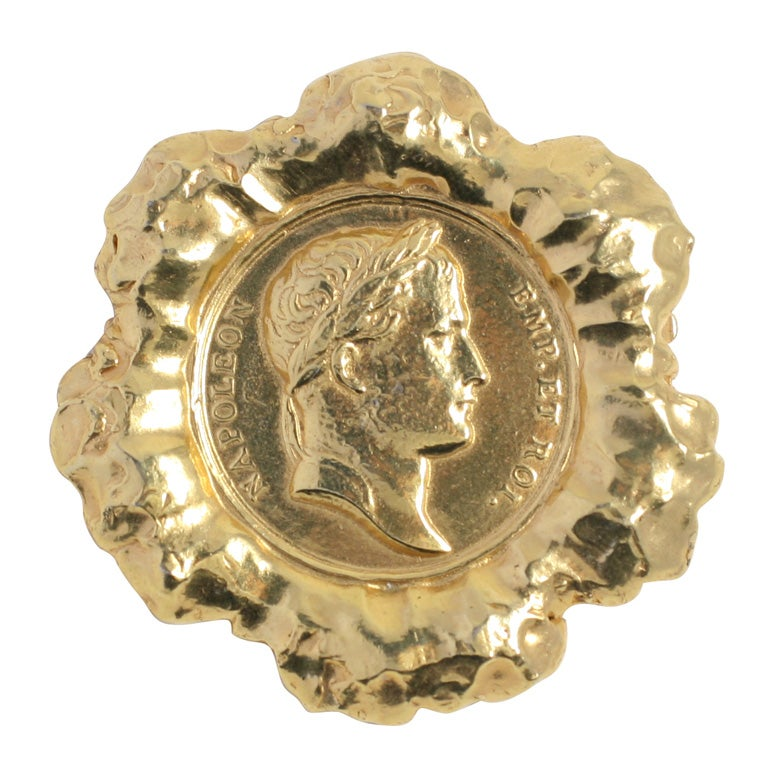 """Hattie Carnegie Large """"Gold"""" Coin Brooch, Costume Jewelry For Sale"""