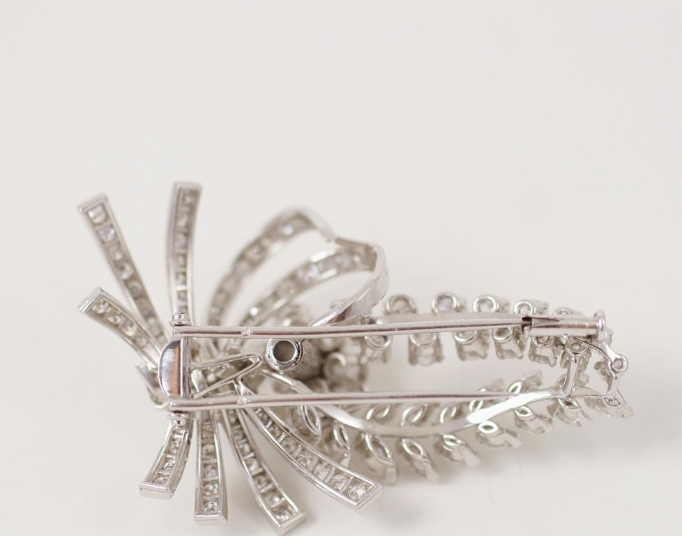 Women's Platinum Floral Spray Brooch For Sale