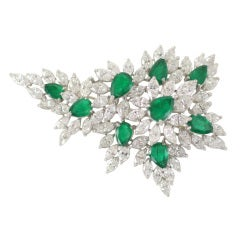 Emerald & Diamond Spray Brooch