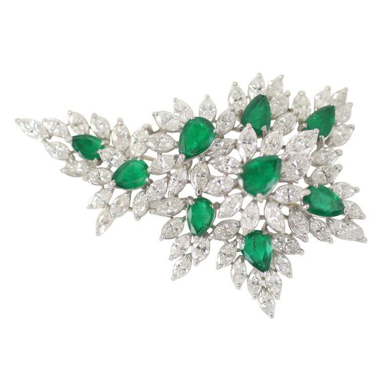 Emerald & Diamond Spray Brooch