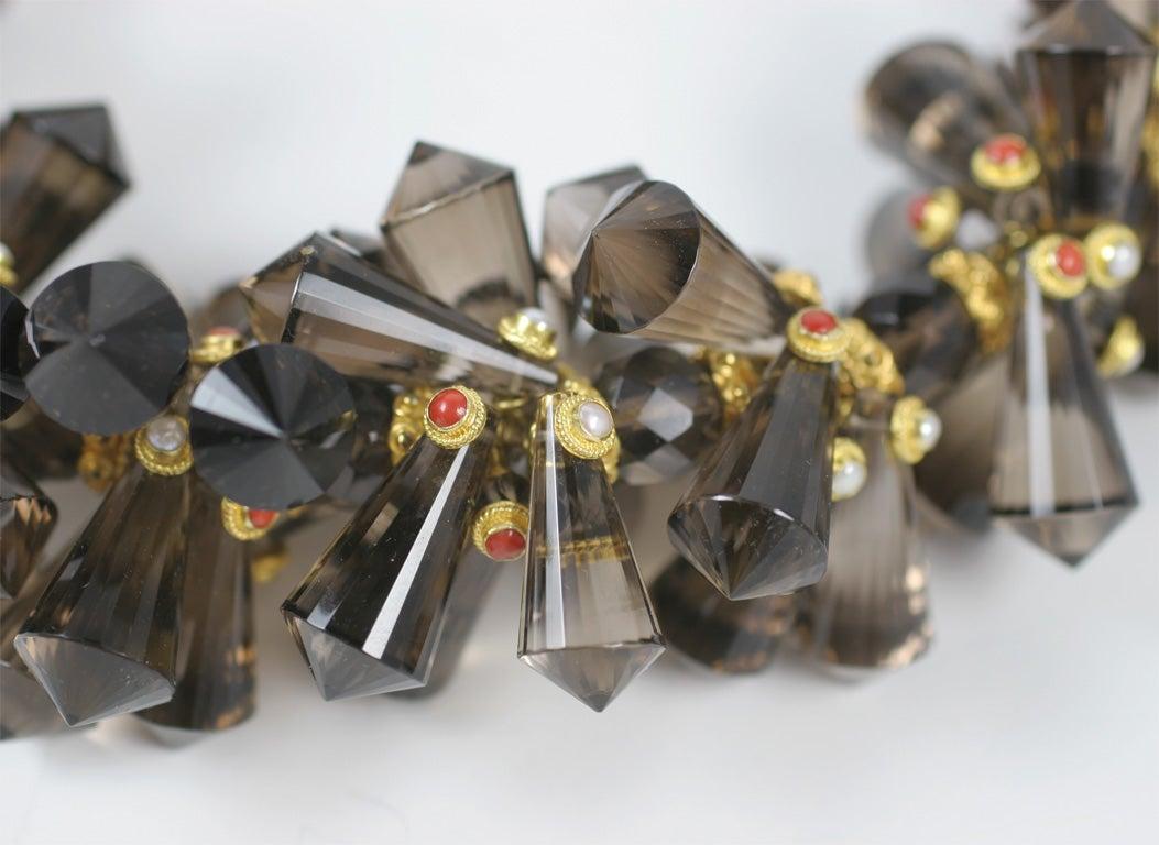 Contemporary Smokey Quartz Coral Pearl Gold Pinecone Necklace For Sale
