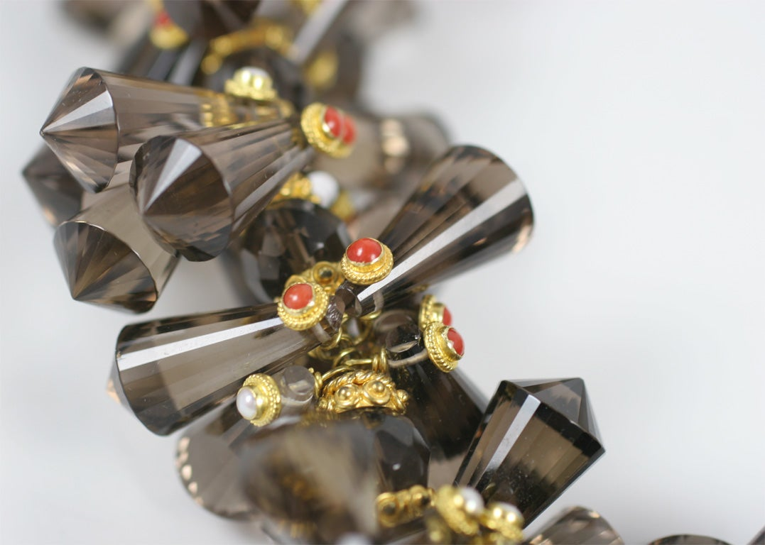 Smokey Quartz Coral Pearl Gold Pinecone Necklace In Excellent Condition For Sale In Fifth Avenue, NY
