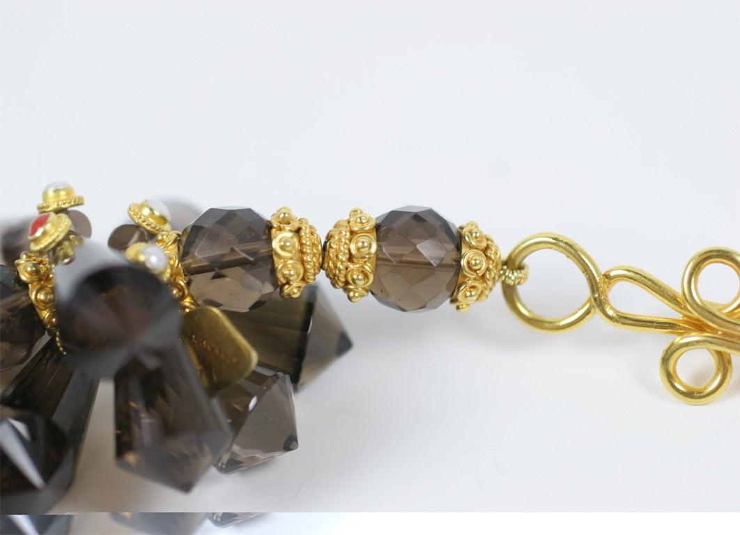 Women's Smokey Quartz Coral Pearl Gold Pinecone Necklace For Sale