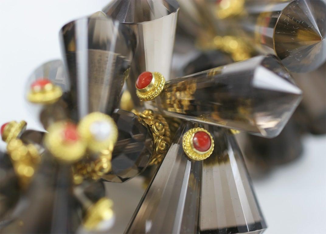 Smokey Quartz Coral Pearl Gold Pinecone Necklace For Sale 1