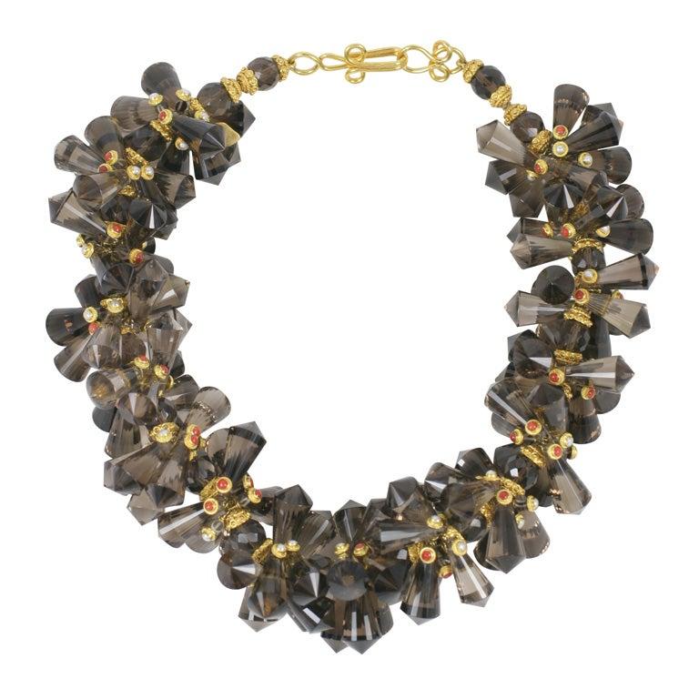 Smokey Quartz Coral Pearl Gold Pinecone Necklace For Sale