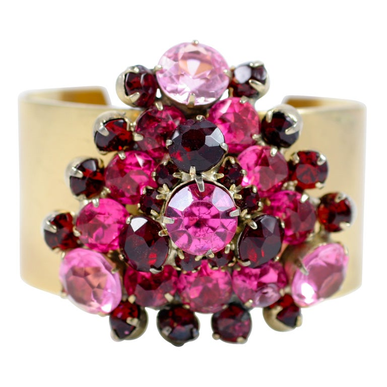"""Vendome """"Gold"""" Cuff with a Cluster of Red and Pink Rhinestones, Costume Jewelry"""