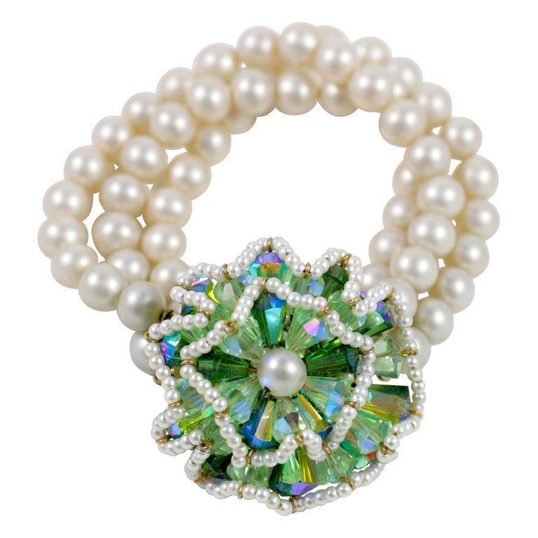 """Vendome """"Pearl"""" Bracelet with Large Green Stone Flower, Costume Jewelry"""
