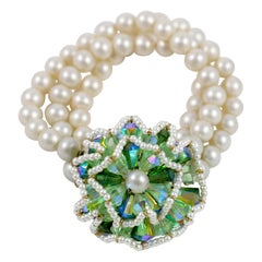 "Vendome ""Pearl"" Bracelet with Large Green Stone Flower, Costume Jewelry"