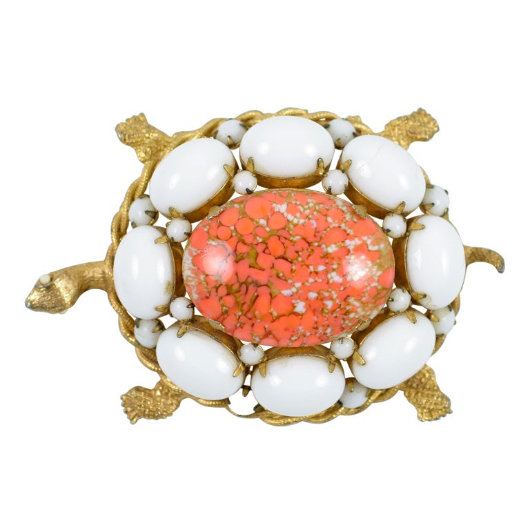 """Gold"" & ""Coral"" Cabochon Turtle Brooch by DeNicola, Costume Jewelry For Sale"