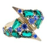 1950's Green and Blue Rhinestone Clamp Bracelet