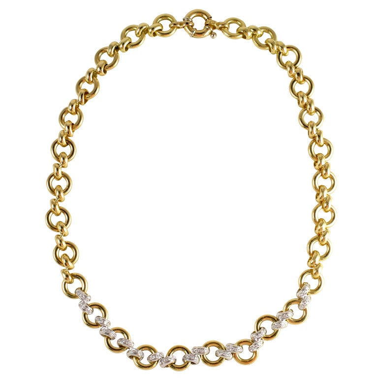 18kt Yellow Gold & Diamond Necklace