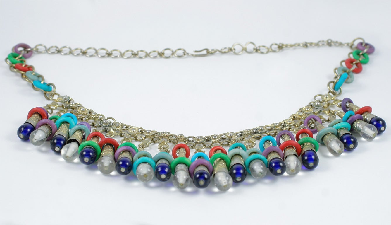 Women's Exotic Silver Tone Beaded Necklace For Sale