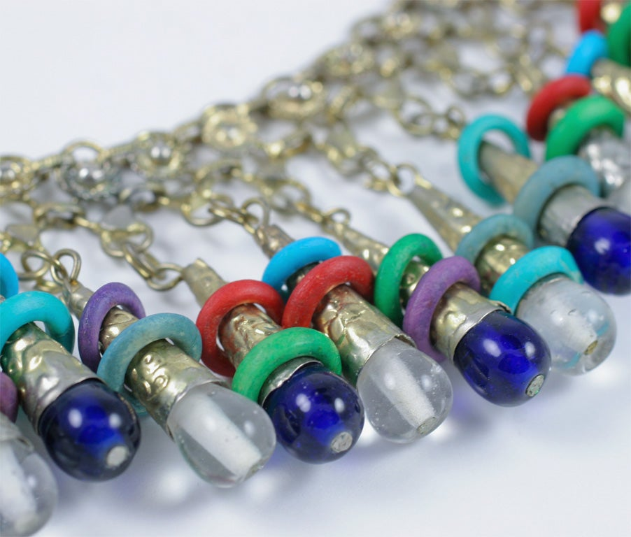 Exotic Silver Tone Beaded Necklace For Sale 2
