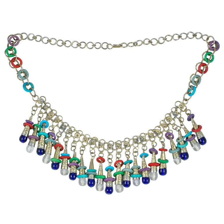 Exotic Silver Tone Beaded Necklace
