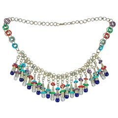 Colorful Exotic Silver Tone Beaded Necklace, Costume Jewelry