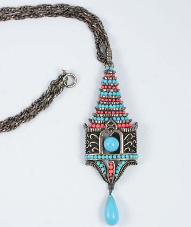 Park Lane Pagoda Pendant Necklace In Excellent Condition For Sale In Stamford, CT