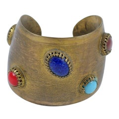 Exotic Cuff with Multi Colored Oval Cabochons, Costume Jewelry