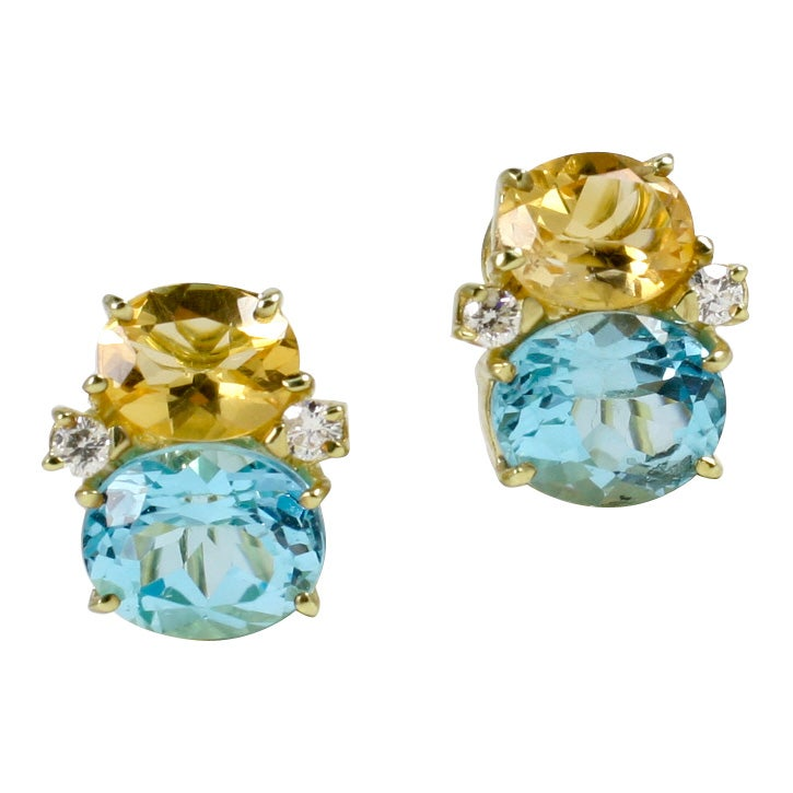 Medium GUM DROP™ Earrings with Citrine and Blue Topaz and Diamonds