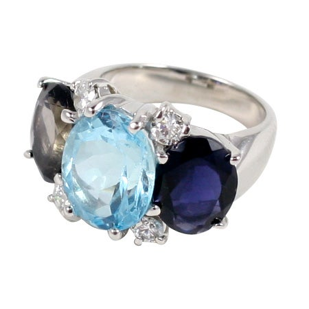 Large 18kt White Gold Gum Drop Ring with Blue Topaz and Iolite