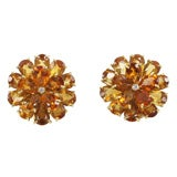 Citrine Double Tier Flower Earrings with Diamond