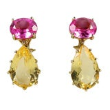 14 kt multi prong drop earing with pink topaz and citrine