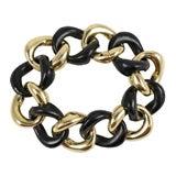 18kt Gold and Ebony Wood Link Bracelet