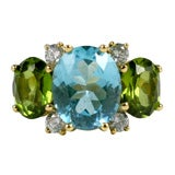 Large 18kt Yellow Gold Gum Drop Ring with Blue Topaz and Peridot