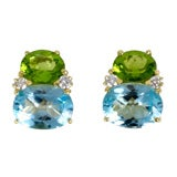 Large GUM DROP™ Earrings with Peridot and Blue Topaz and Diamonds