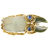 White and Green Jade Beetle Brooch by Iradj Moini