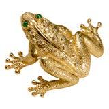 Charming English 18k Emerald and Diamond Frog Brooch