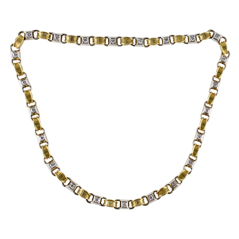 18kt White & Yellow Gold & Diamond Necklace