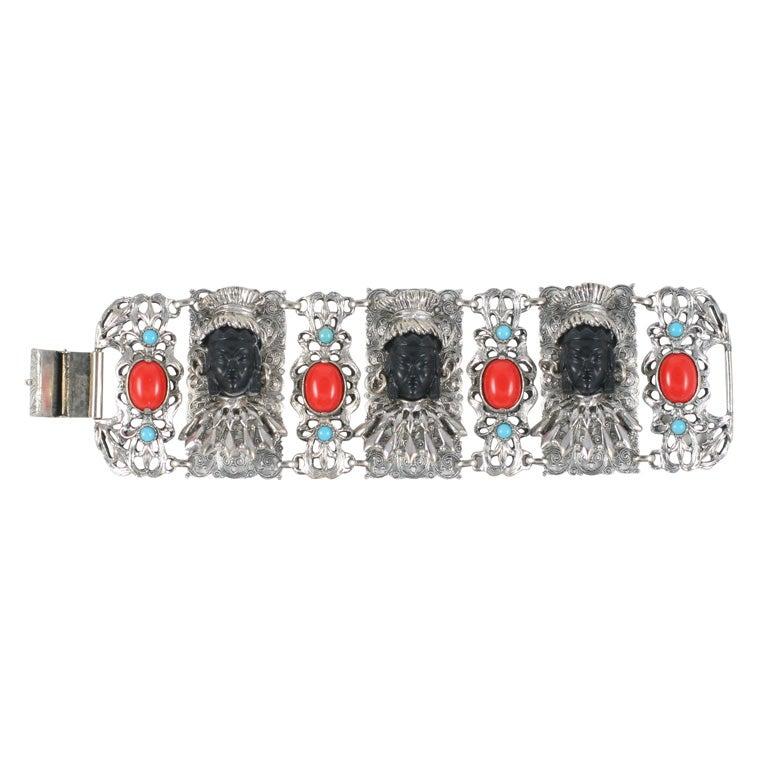 "Ornate Selro ""Silver"" Bracelet, Costume Jewelry"