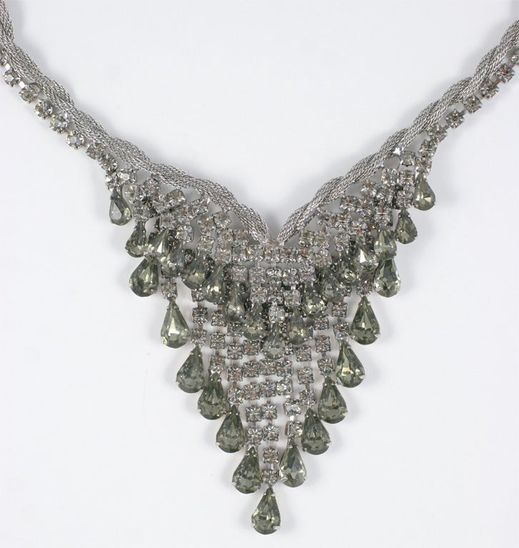 """Smokey """"Silver"""" Rhinestone Necklace and Earrings 3"""