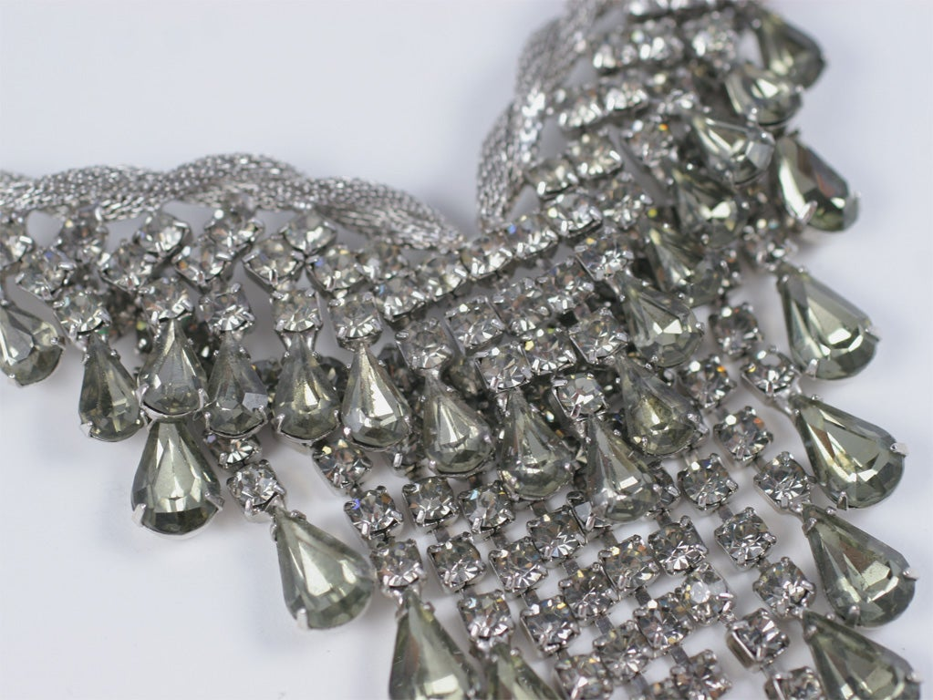 """Smokey """"Silver"""" Rhinestone Necklace and Earrings For Sale 1"""