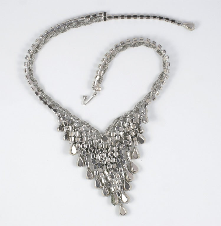 """Smokey """"Silver"""" Rhinestone Necklace and Earrings For Sale 2"""