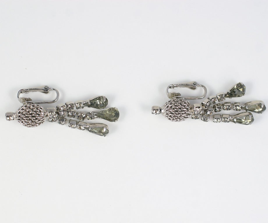 """Smokey """"Silver"""" Rhinestone Necklace and Earrings For Sale 5"""