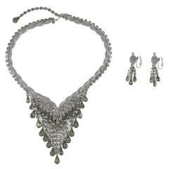 "Smokey ""Silver"" Rhinestone Necklace and Earrings"