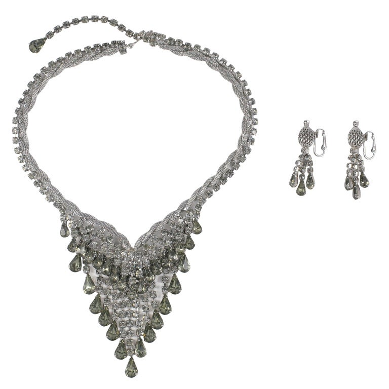 "Smokey ""Silver"" Rhinestone Necklace and Earrings, Costume Jewelry For Sale"