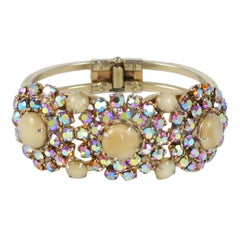 """Gold"" Rhinestone Clamp Bracelet, Costume Jewelry"