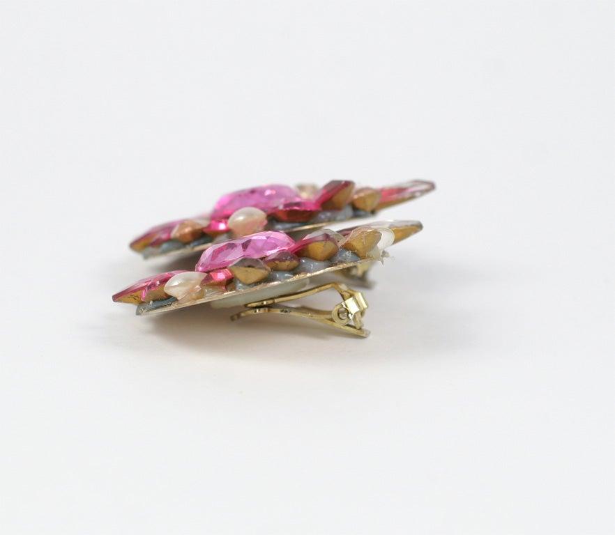 Pink Rhinestone Earrings 5